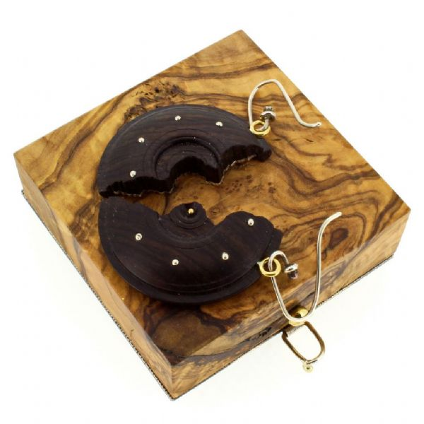 Silver & Gold earrings with olivewood box